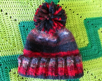 Huge Pom-Pom Hat - Convertable - Red Brown Black
