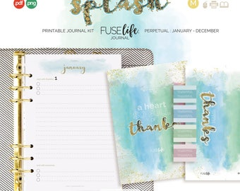 Gratitude Journal Inserts : Medium FUSElife Splash > A5 (Half Letter) with Covers, Pages, Bookmark, Tabs + Tip Guide (jes0567)