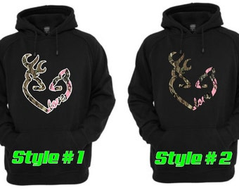 Browning Style Buck and Doe heart shaped love Camo/ Camo Pink  BLACK hoodie with Drawstring