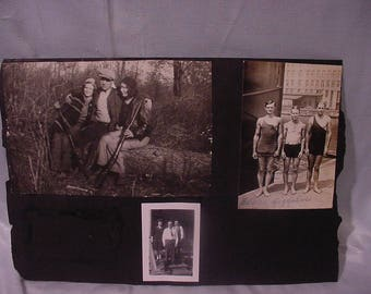 """Two Pages Photo Album 1940s Pictures Hunters 3 Men """"Jiggalos"""" Gigolos in Swimsuits"""