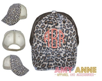Monogrammed Leopard Trucker Hat with Tan Mesh Embroidered Baseball Cap Animal Print Distressed