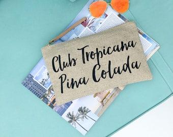 ISLAND VIBES Club Tropicana Clutch Bag   Linen Clutch Bag