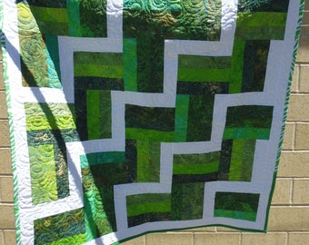 Green and white crib or lap quilt