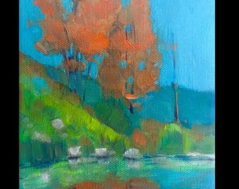 Original Oil Painting, Original Oil Landscape, Small Oil Painting, Canvas Painting, Painting of Trees, fall Painting, Small Landscape