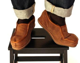 Μens Slippers, Shoe Slippers, Leather Slippers, Brown Slippers, House Shoes, Fur Slippers, Gift for Him, House Slippers, Handmade Slippers