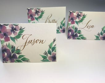 Place Cards, - Floral Set of 10, Size 2.5 x 3.5 inches, Printed Cards