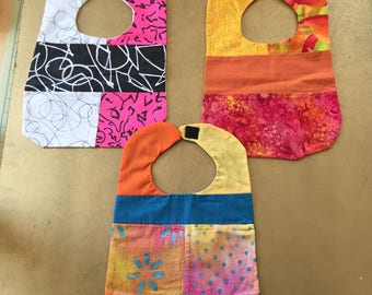 Set of 3 Multicolor Bibs