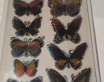 3 D Butterfly  Scrapbooking Stickers 9 Stickers Total, 2 Styles