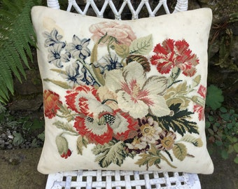Victorian needlepoint cushion, floral needlepoint pillow, Victorian embroidered cushion