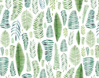 Watercolor Ferns and Leaves - Swaddle, Changing Pad Cover, Boppy Cover, Crib Sheet, Minky Blanket, Baby Blanket, Muslin Swaddle