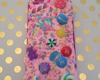 I phone 6/6s case Gorgeous sweet themed simulation whipped cream pink glue and 100's and 1000's sprinkles - Can be personalised …