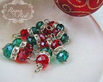 O Christmas Tree Crystal & Rhinestone Charms, crimson, rhinestone, Christmas, dangles, embellishment, beading supply - reynaredsupplies