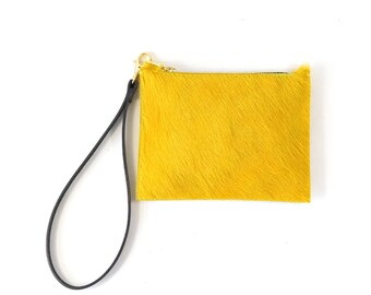 Mimi - Handmade Yellow Hair On Cow Hide Leather Clutch Bag Zip Pouch Purse AW17
