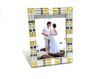 MOSAIC PICTURE FRAME, Yellow Gray Decor, 5 x 7 Frame, Baby Shower Gift, Gray Yellow Nursery, Decorative Photo Frame, Mothers Day Gift