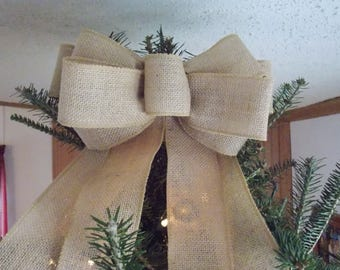 Burlap Tree Topper With Streamers  - Front Door Decor  - Natural Burlap Bow