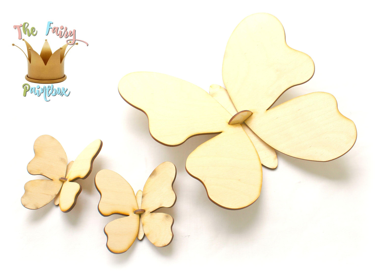 3D Butterfly Wall Shape Assembled Butterfly Wood Shape Ready-to ...