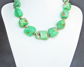 Green chrysoprase and sterling silver necklace