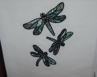 Stained glass dragonfly flour sack towel. Machine embroidered.