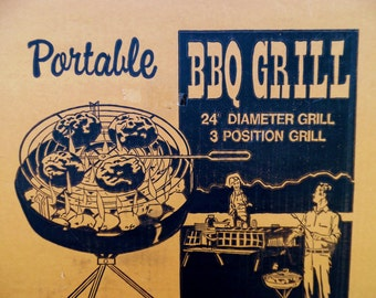 1970's, Vintage, Charcoal Grill, Portable, Large, Picnic Supplies, NOS, Marsh Allan Products Inc, USA, BBQ, Barbecue Grill, Bar B Q