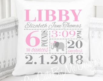 Girls Birth Announcement Pillow - Elephant - Nursery Pillow - New Baby Girl Gift - Personalized - Birth Stats Pillow