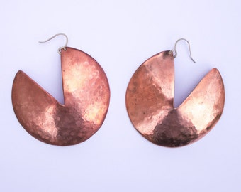 Disco Hammered Earrings. Copper Disc Earrings. Large Statement Earrings. Copper and Sterling Silver. Modern. Minimal.