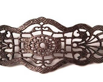Filligree lace leather cuff - art nouveau - laser engraved - steampunk - leather lace