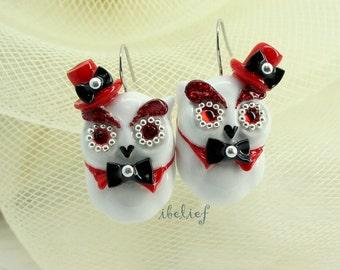 OWL NIGHT of handmade is owl white tuxedo earrings EW0009