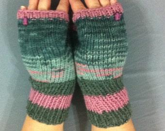 Fingerless  gloves,melange  wool  yarn, knit gloves