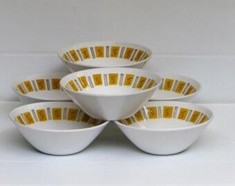 Mikasa Bowl Set 6 Mikasa Cera Stone Yellow El Dorado 3125 Dessert Bowls Mid Century