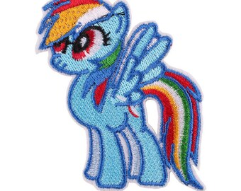 x 1 applique badge patch fusible pony embroidered Blue 6.2 x 7.2 cm