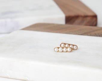 14k solid gold petite pearl stud earrings