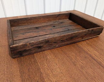 Antique Crate - Vintage Wooden Tray - Rustic Wood Tray - Wooden Coffee Table Tray