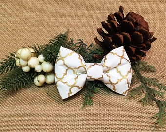 White and Gold Patterned Holiday Bow Tie