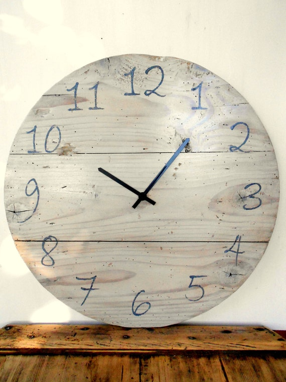 Wooden wall clock recovery, wall clock, Shabby-white