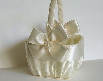 """Handmade, Flower Girl Basket,Square Basket,  """"NUANCE"""" in Brocade, White Basket, Ivory Basket, Flowergirl, Rose Petals, Bridal, Wedding"""