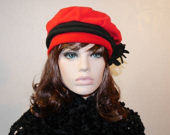 Red and Black Fleece Marissa 7 Cap