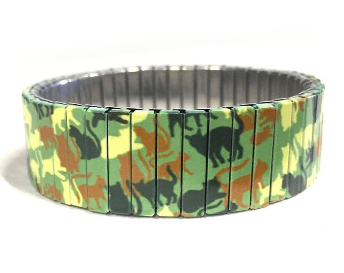 Bracelet with cats, Camouflage, Cats, cat lover, Stretch Bracelet, Wrist Art, Sublimation, Stainless Steel, gift for cat lovers