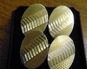 Art Deco Chester Silver Hallmarked and 9ct Gold Cufflinks
