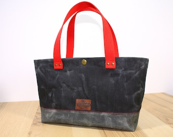 Lunch bag tote waxed denim, waxed canvas bag, waxed denim bag