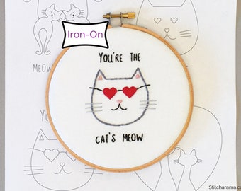 Cats In Love • Embroidery Pattern • Iron On Transfer