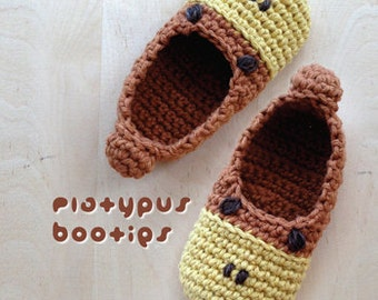Crochet Pattern - Platypus Baby Booties Platypus Preemie Socks Animal Shoes Platypus Newborn Home Slippers Crochet Pattern (PB07-B-PAT)