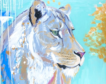 Lioness Print, Girls Room Decor, Teal, Gold, Wall Art, Nursery Art, 12x15, Willow Branch Studio, Gift for her