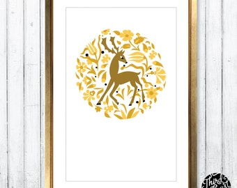Woodland Deer Art Print (11x17)