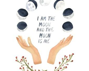 I Am The Moon Art Print, Moon Phases, Wall Art, Watercolor Print, Cosmos, Full Moon