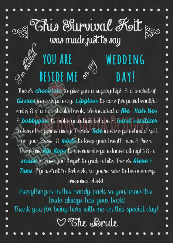 Bridesmaid Survival Kit Poem Teal and White