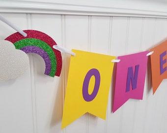 Rainbow high chair banner, ONE high chair banner, rainbow party decorations, rainbow cake smash, rainbow photo prop, event planner, rainbows