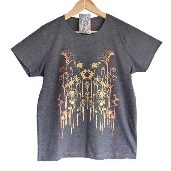 XS XL 2XL WILD Flowers t shirt. Grey Marle T shirt. Floral print in gold and copper. Iridescent print t-shirt.