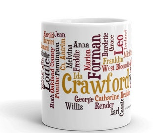 Custom Family Tree Name Genealogy 11 Oz. Ceramic Coffee Mug - Perfect Gift for the Genealogist, Family Historian, Family Reunions & More!