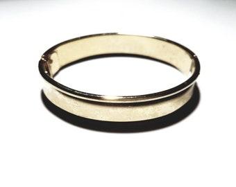Vintage Whiting Davis Signed Polished Gold Clamper Bracelet