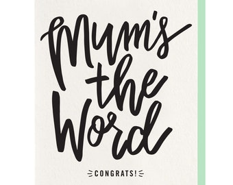 Letterpress 'Mum's The Word' Greeting Card